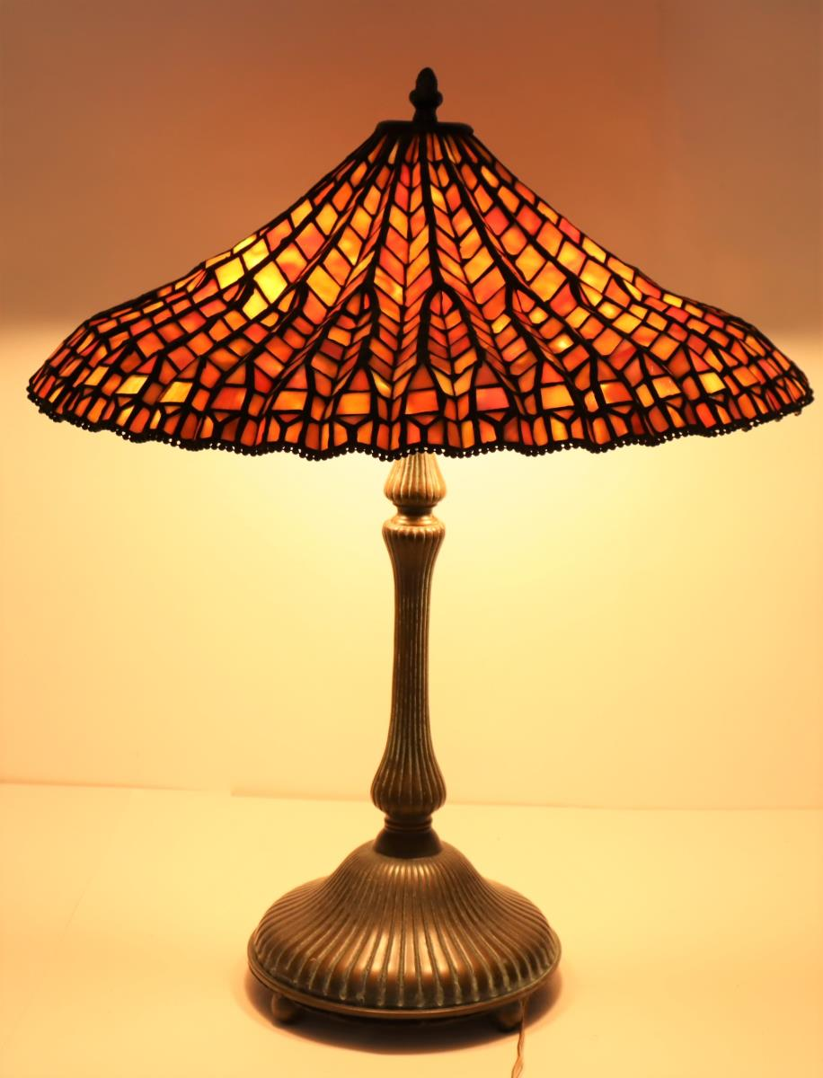 Stained Glass Lamp Signed Dale Tiffany - Image 7 of 11