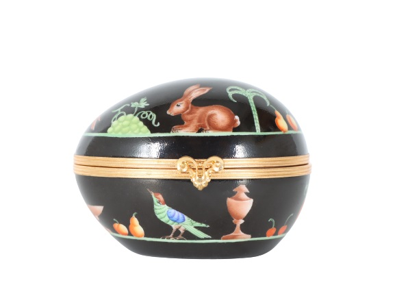 French Hand Painted Egg Trinket Box
