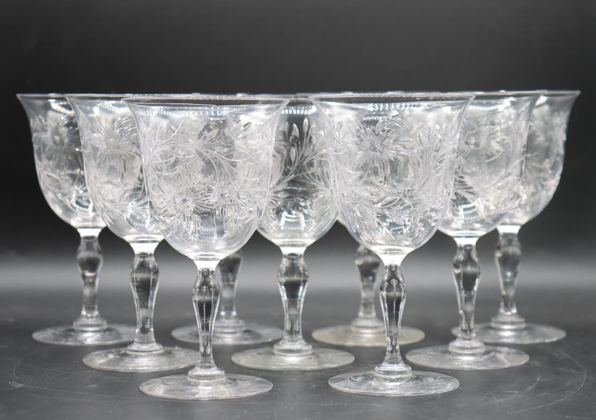 (9) Etched Crystal Wine Glasses - Image 3 of 5