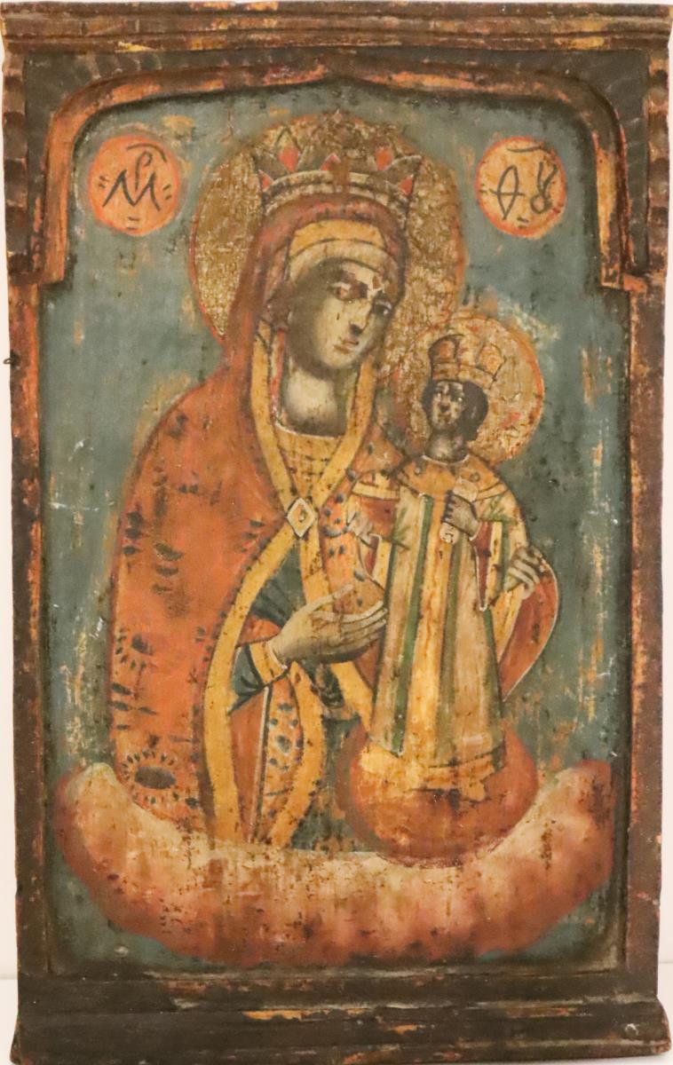 Russian Icon, Painted Wood - Image 2 of 4
