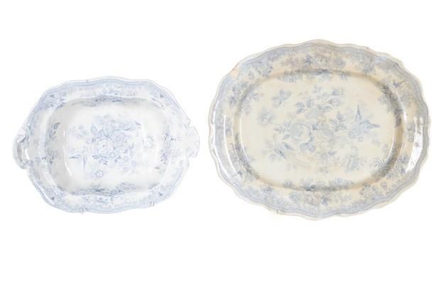 (2) Antique Blue & White Porcelain Trays