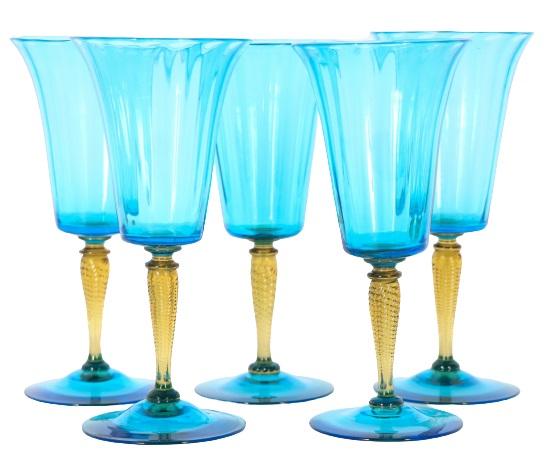 (5) Steuben Celeste Blue and Amber Wine Glasses