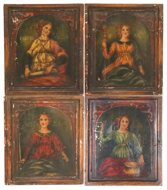 Collection of Four Paintings of Saints on Panel
