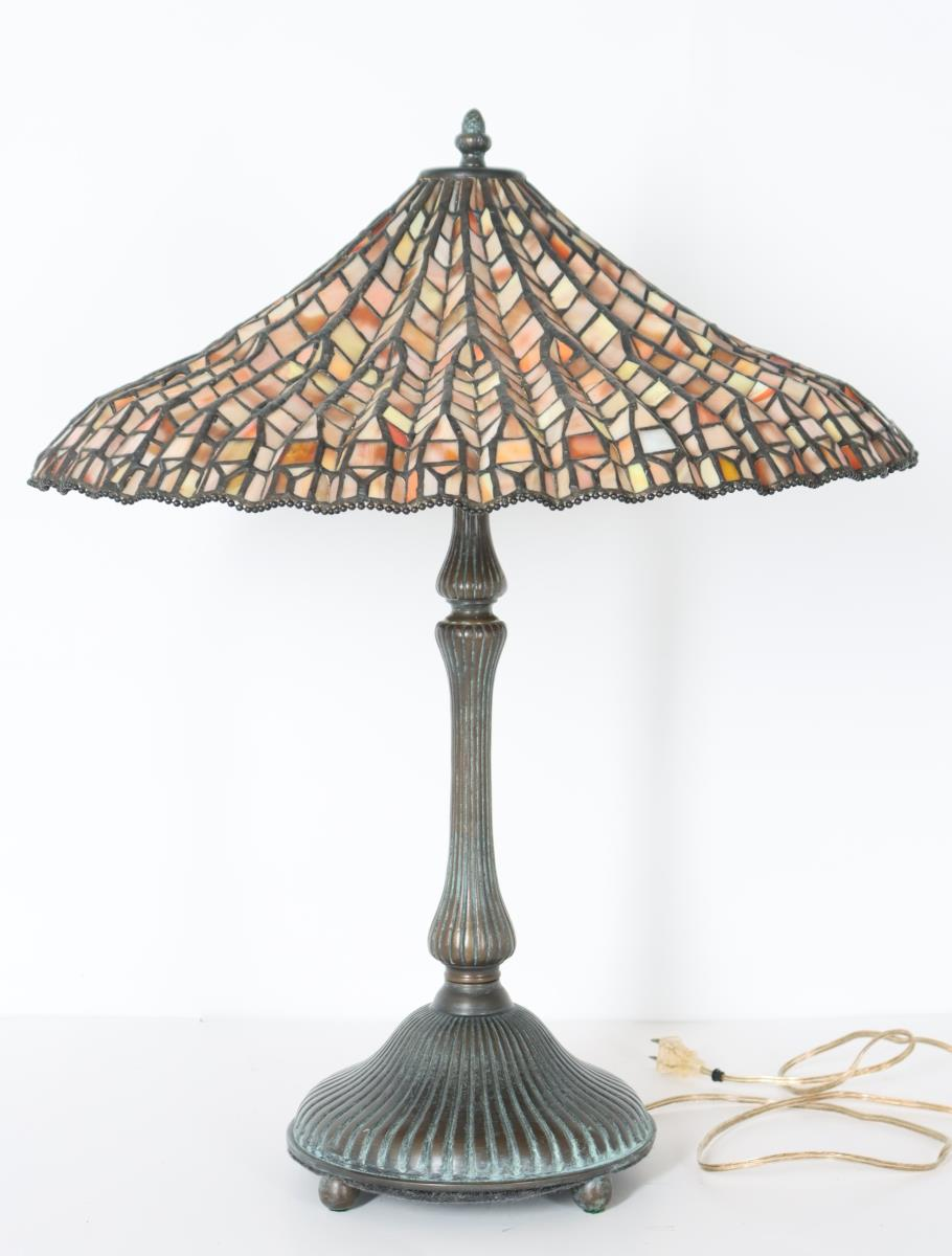 Stained Glass Lamp Signed Dale Tiffany - Image 10 of 11