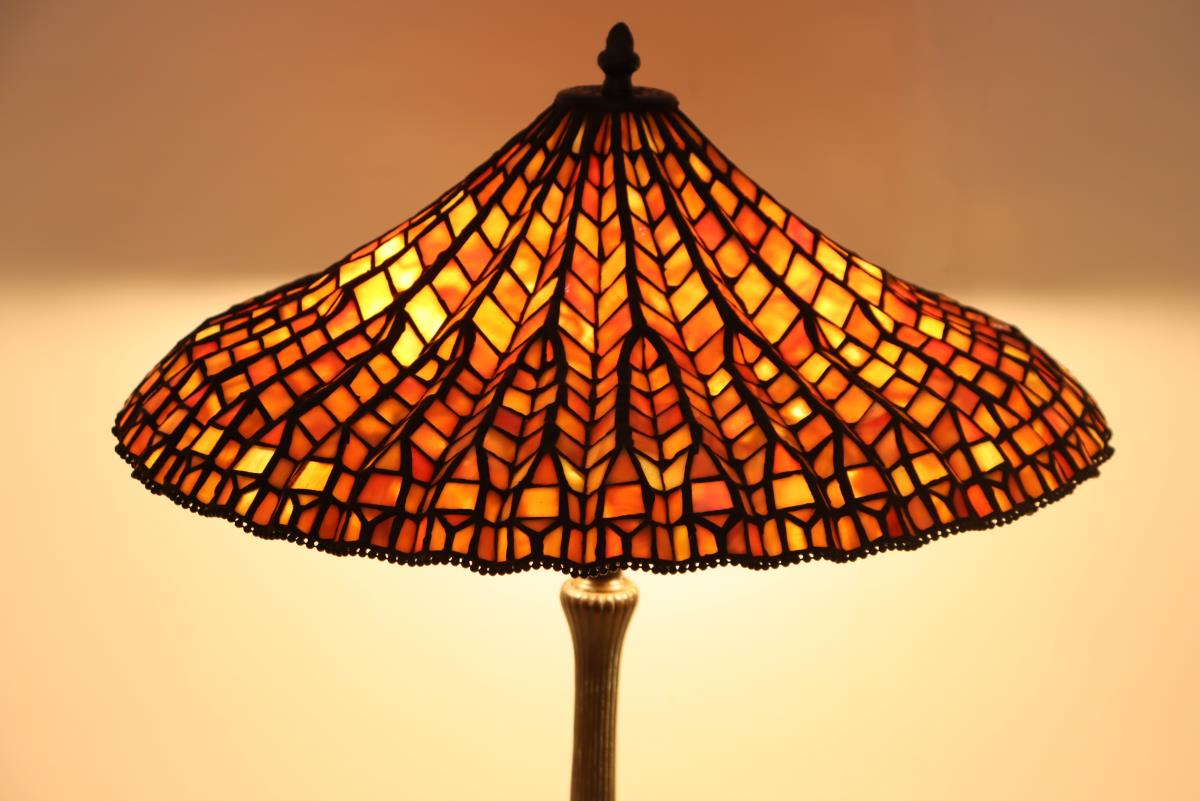 Stained Glass Lamp Signed Dale Tiffany - Image 9 of 11