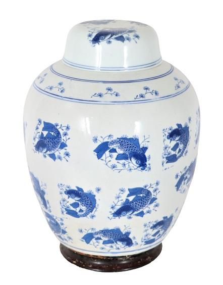 Large Chinese Blue & White Ginger Jar & Lid