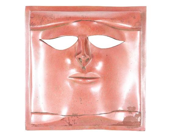 Frank Colson (20th C) Amer. Brutalist Bronze Mask