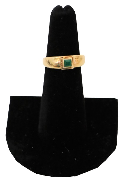 Ladies 18K Yellow Gold & Emerald Ring, 3.2 DWT