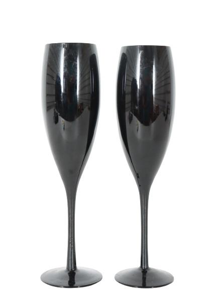 (2) Art Glass Champagne Glasses
