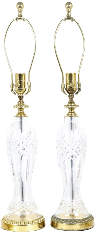 Pair of Waterford Cut Crystal Glass Lamps