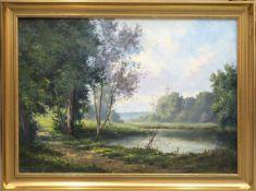 Landschaft mit Teich