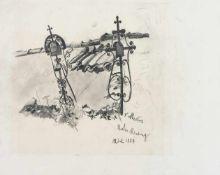 Grabkreuze an der Friedhofsmauer Bleistiftzeichnung Mediz Karl