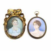 Zwei Miniaturen: Damenportäts