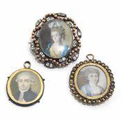 Drei Miniaturen: Zwei Damen- und ein Herrenporträt