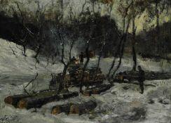 Holzfäller im winterlichen Tiergarten
