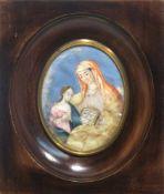 Miniatur: Anna lehrt Maria das Lesen