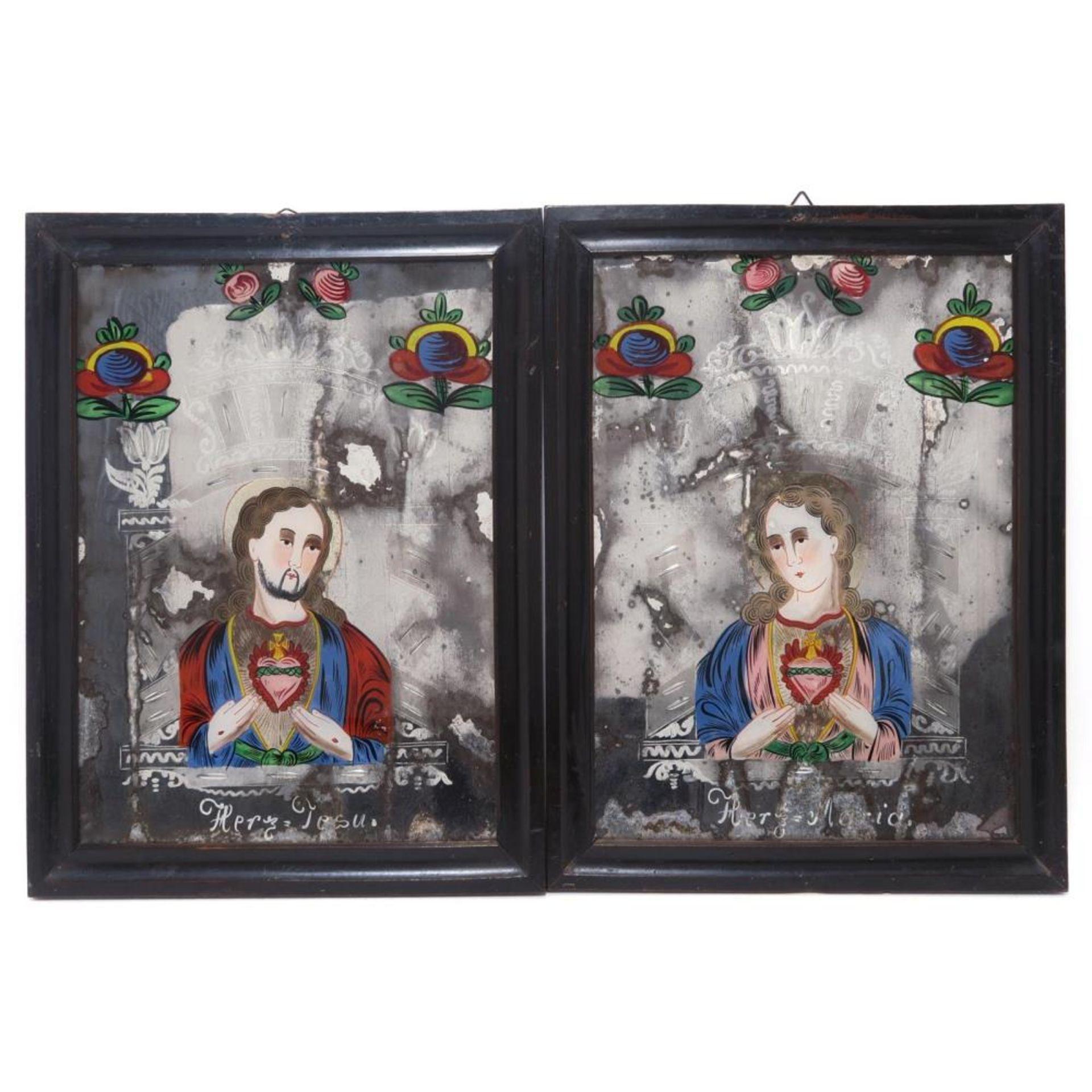 Ein Paar Hinterglas-Spiegelschliffbilder