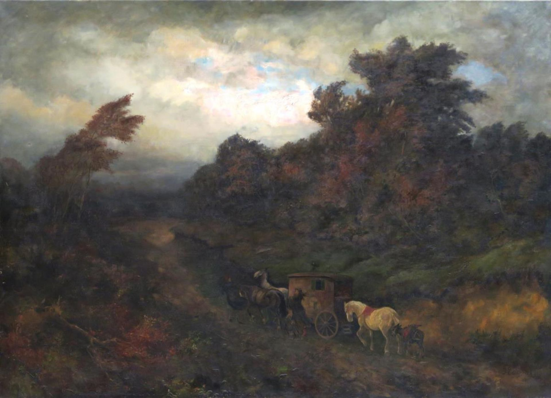 Landschaft mit Pferdekutsche