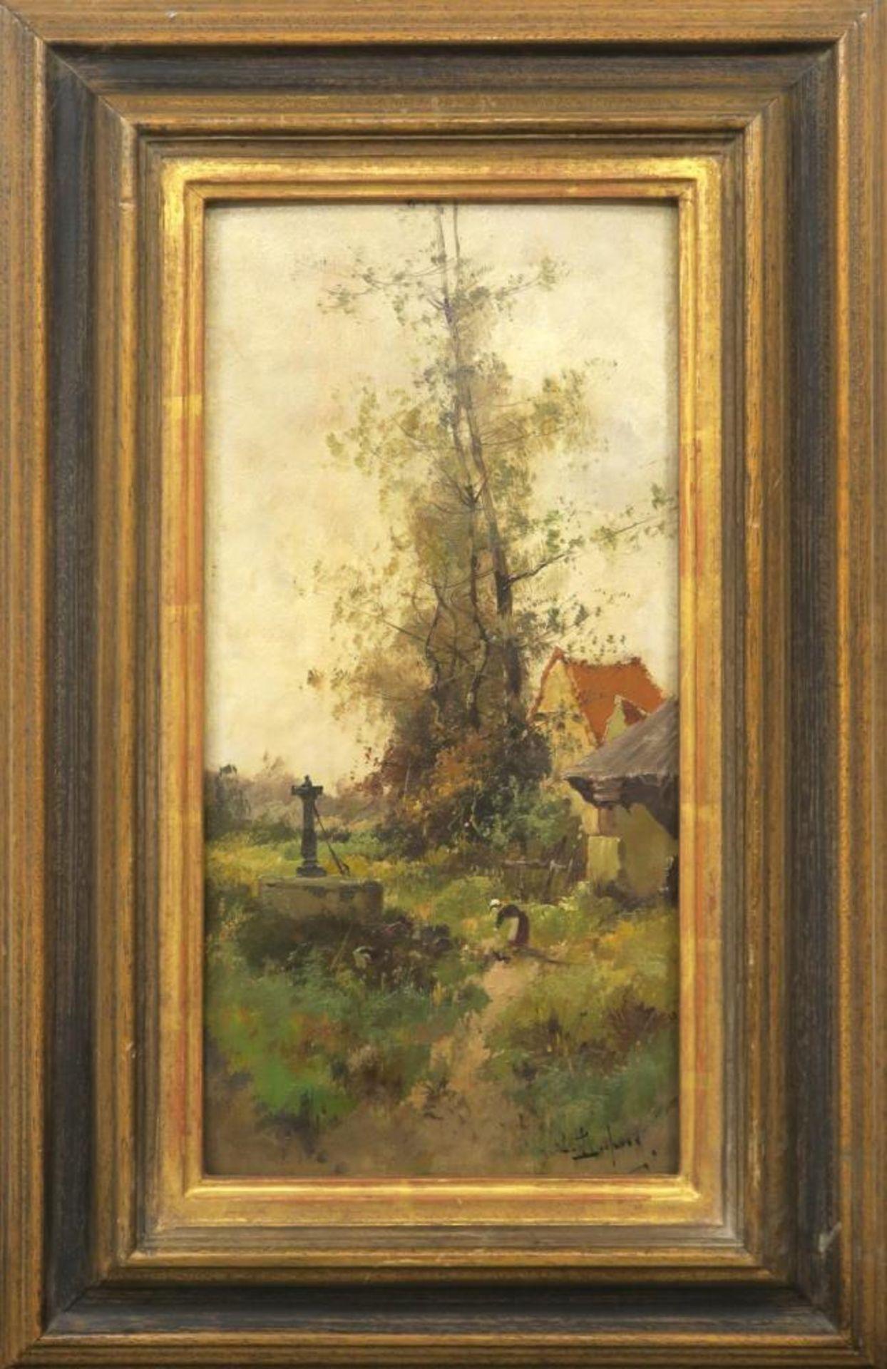 Landschaft mit Frau am Brunnen