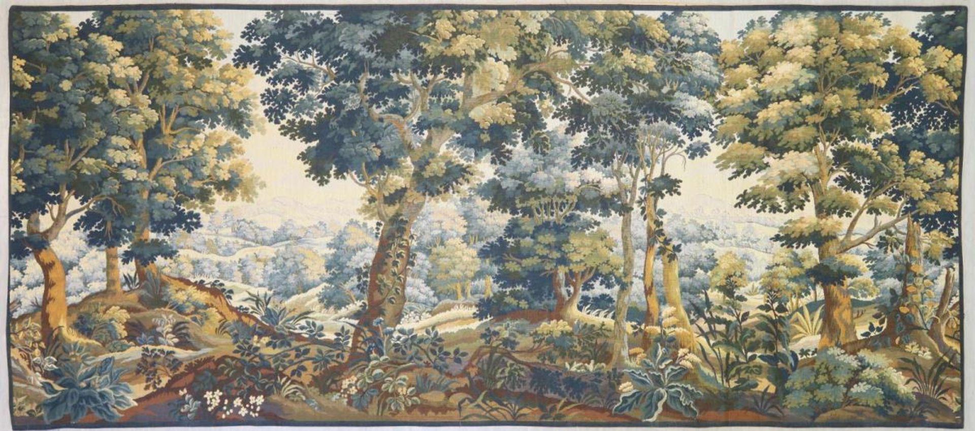 Tapisserie: Baumbestandene Landschaft