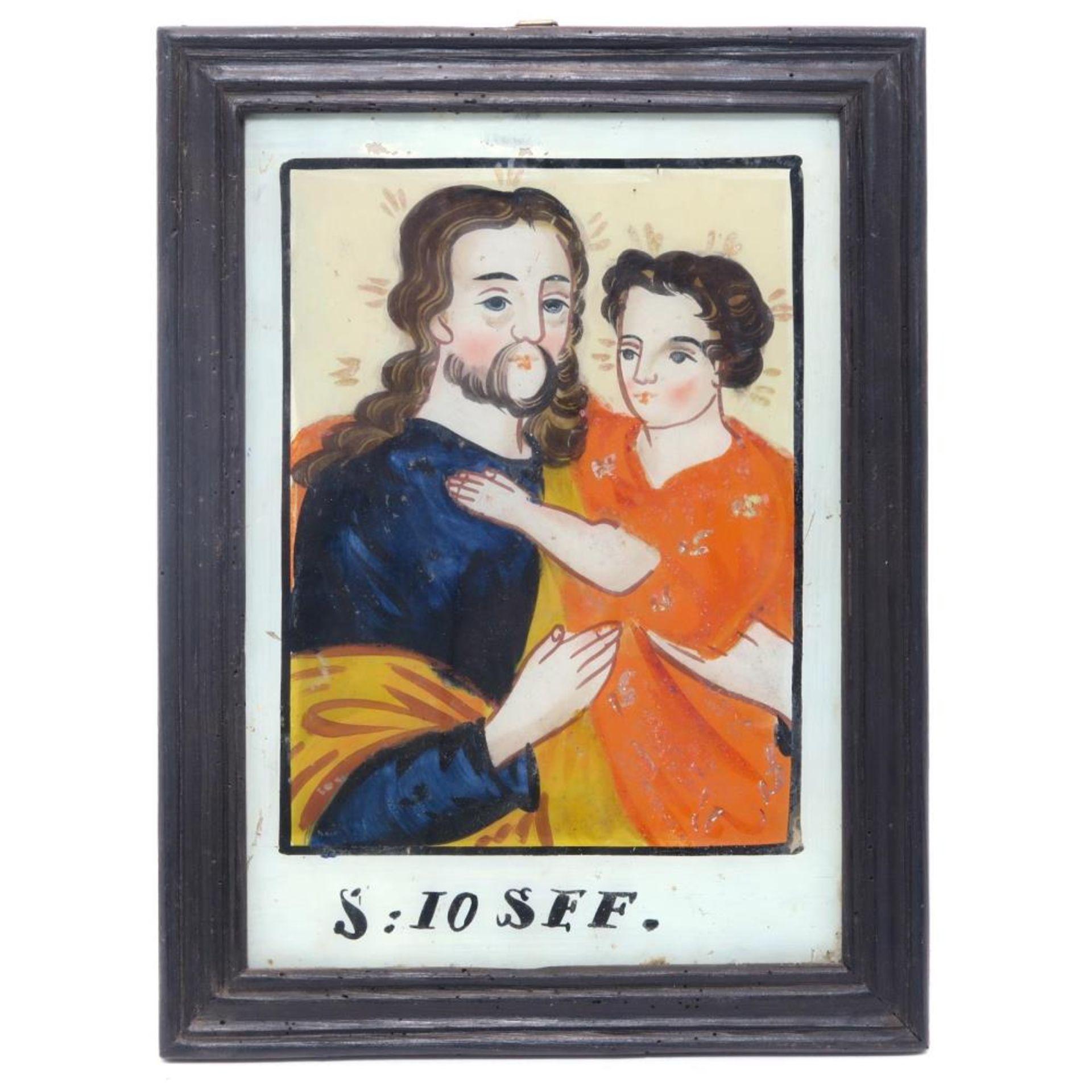 Hinterglasbild: Hl. Josef mit Christuskind