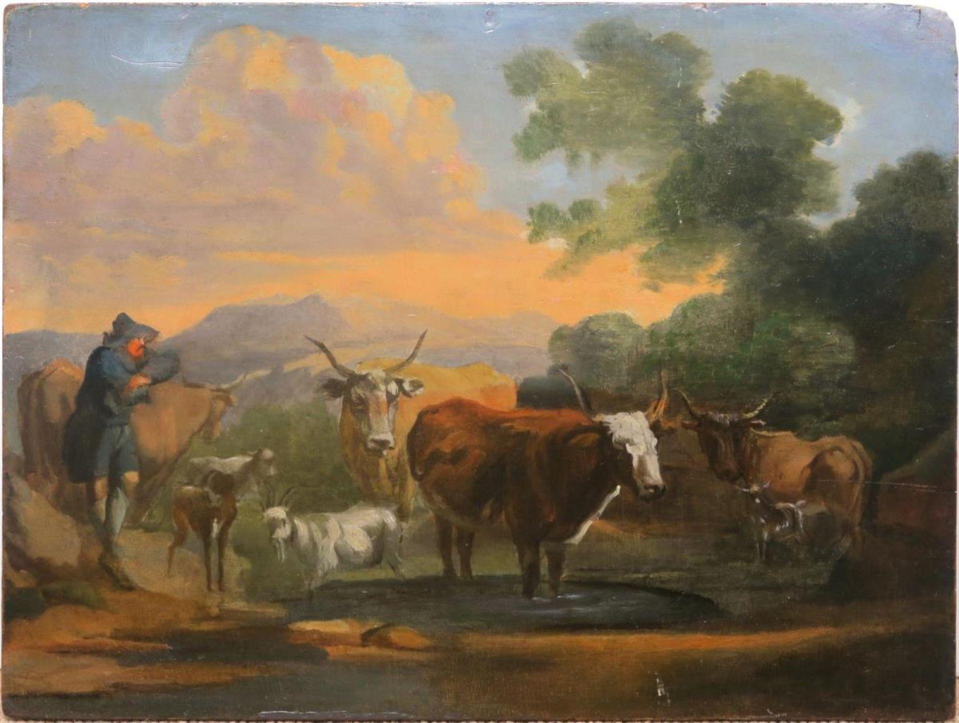 Hirte mit Vieh an der Tränke