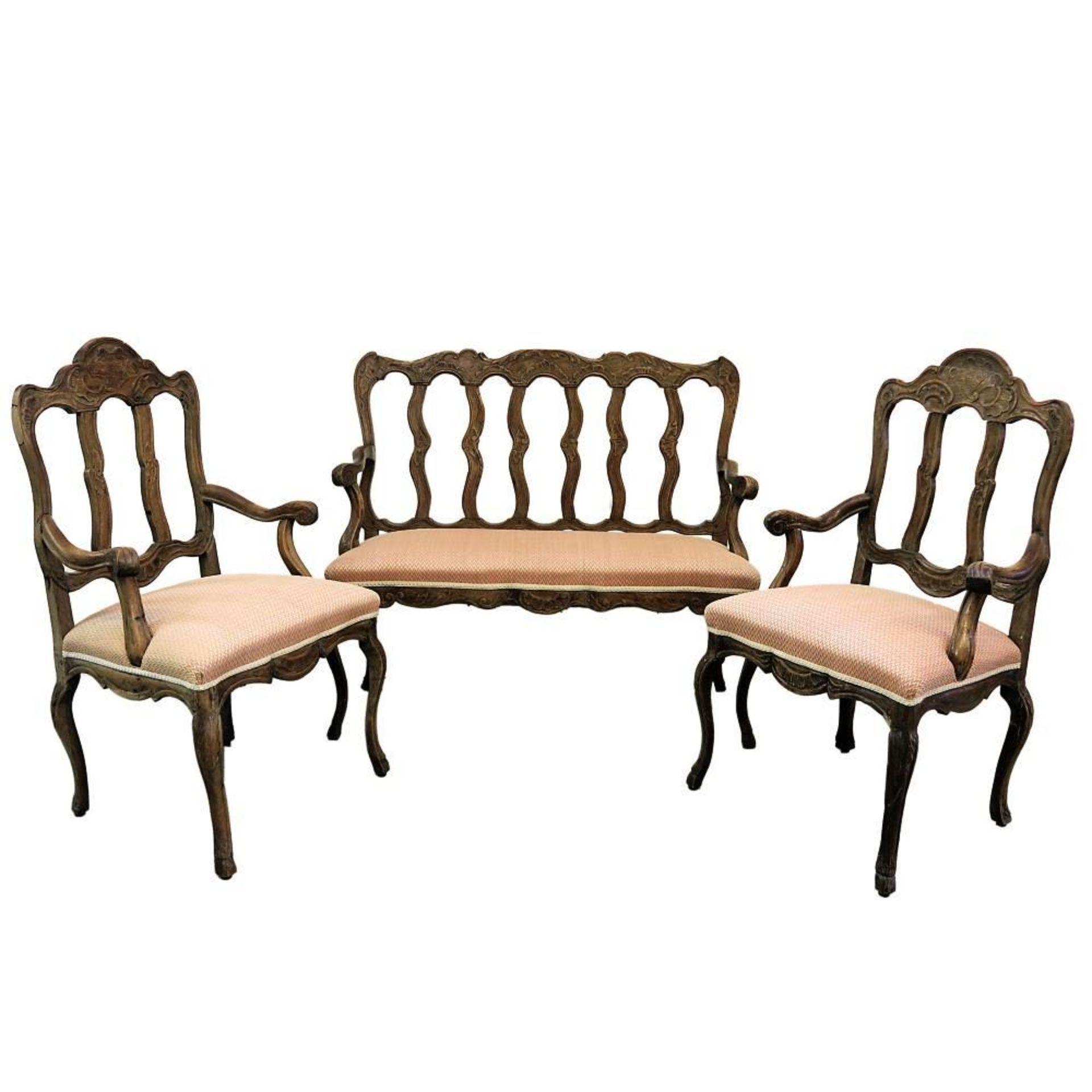 Sitzbank und 4 Armlehnstühle