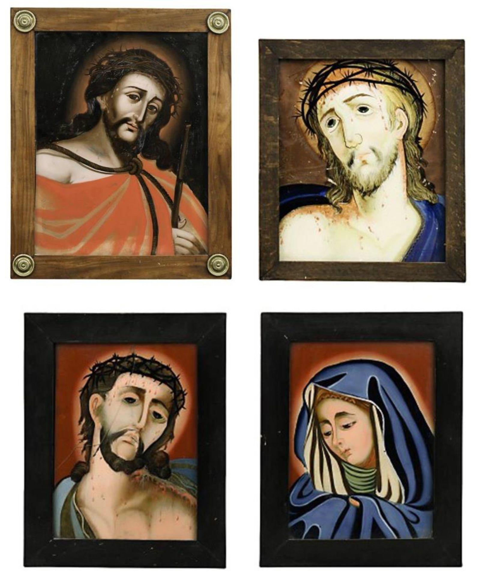 Vier Hinterglasbilder: Ecce Homo bzw. Mater dolorosa