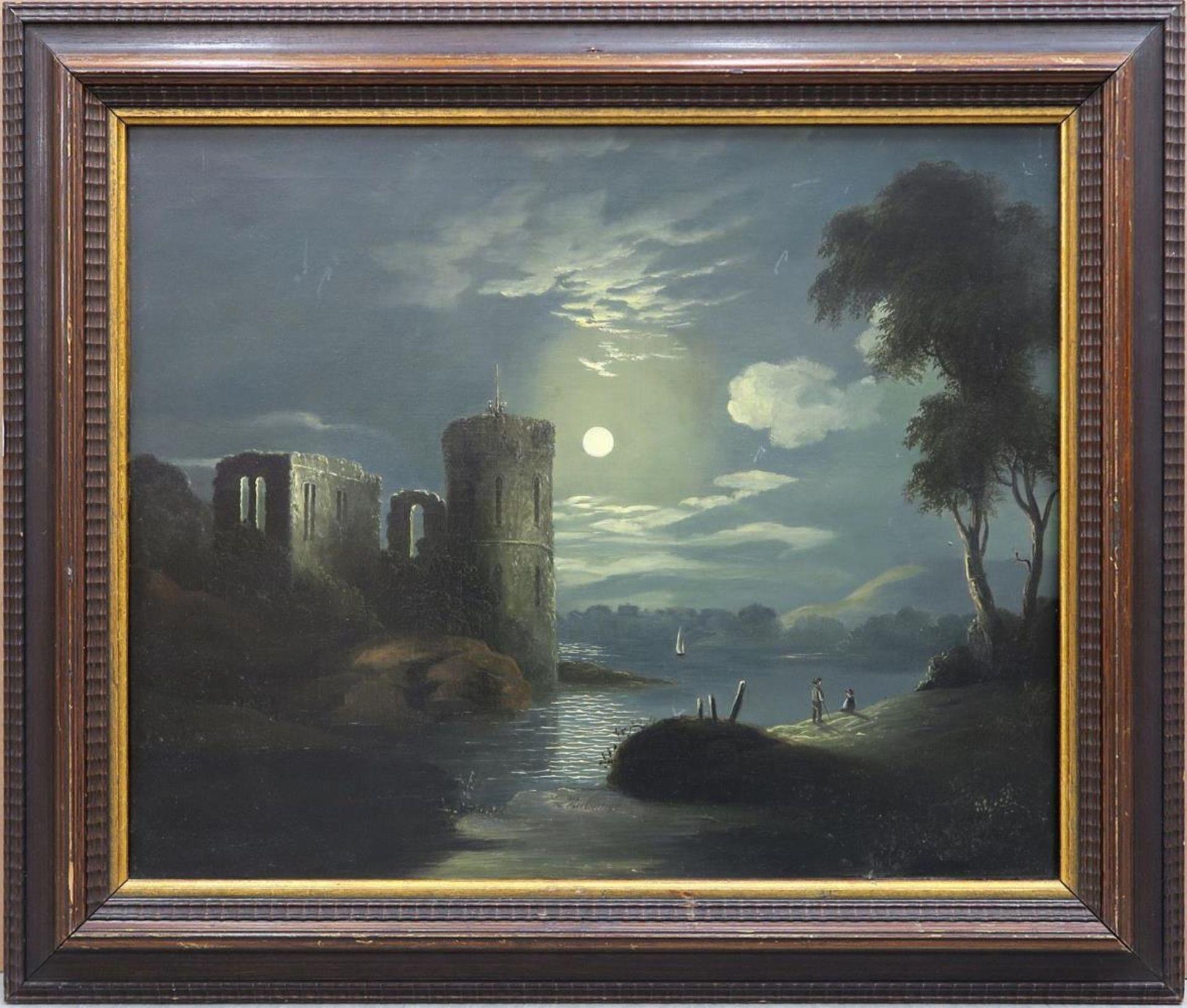 Ruine am Fluss im Mondschein