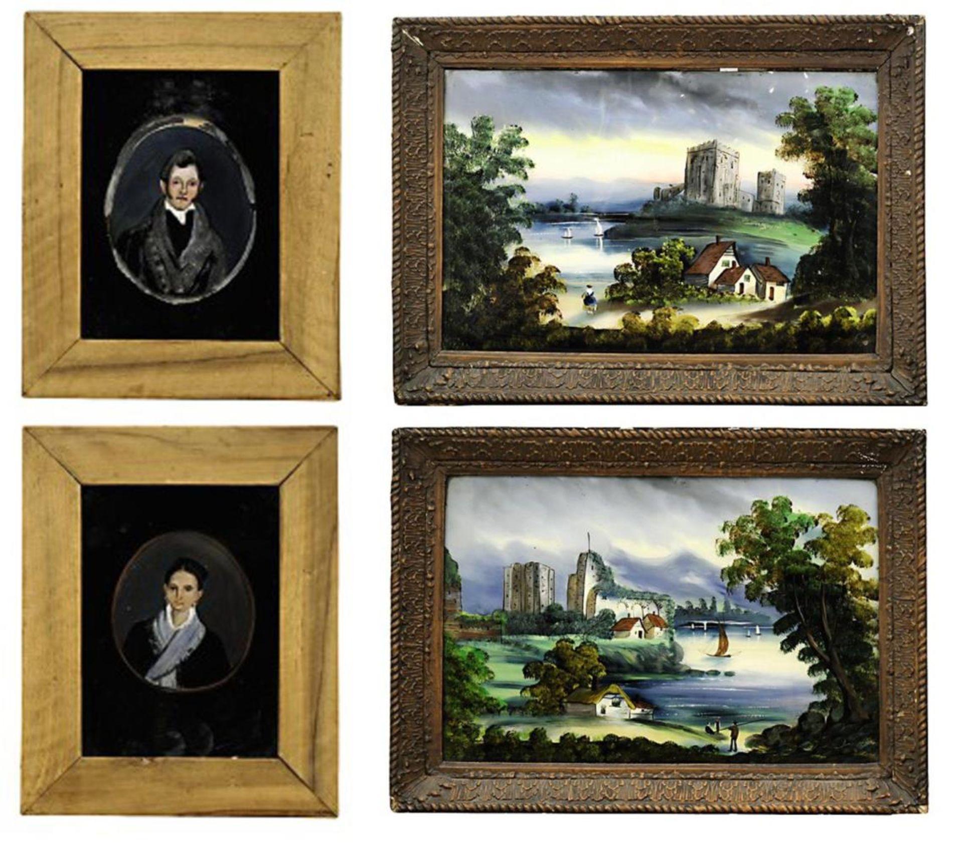 Vier Hinterglasbilder
