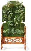 Tischstellschirm mit Jadetafel China,