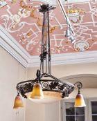 Große Jugendstil-Deckenlampe Verrerie