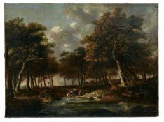 Landschaft mit Pferdefuhrwerk an der Tränke