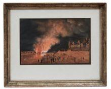 Brand der Elbbrücke in Meißen am 12. März 1813