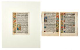 Drei illuminierte Blätter aus einer spätmittelalterlichen Buchhandschrift