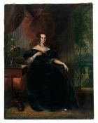 Biedermeierbildnis einer eleganten Dame an ihrem Schreibtisch