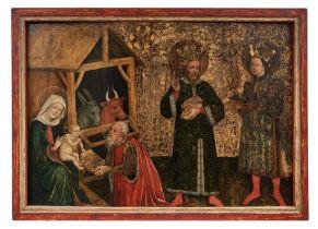 Gotisches Tafelbild mit Anbetung des Jesuskindes