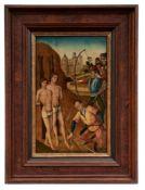 Gotisches Tafelbild mit Martyrium des Kosmas und Damian