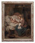 Bäuerliches Interieur mit Mutter und Säugling beim Wickeln