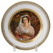 Teller mit Bildnis einer Albanerin
