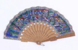 Kanton-Faltfächer mit höfischen Szenen