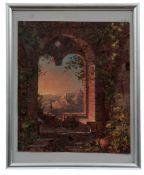 Blick aus einem Fenster auf eine Burgenlandschaft