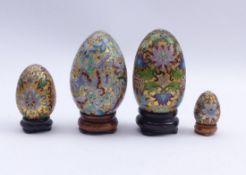 Vier Cloisonné-Zier-Eier