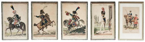 Fünf Uniformen der französischen Armee
