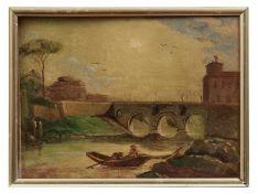 Fischer an der Engelsbrücke in der Abenddämmerung
