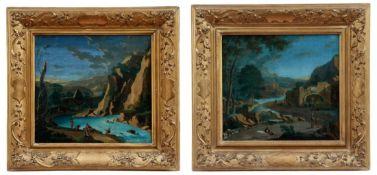 Pendants Flusslandschaften mit Figuren