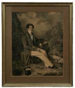 Eleganter Herr in Landschaft sitzend