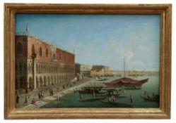 Blick auf das Schiavoni-Ufer mit dem Palazzo Ducale in Venedig