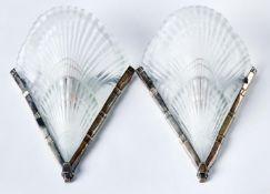 Paar Art-Déco-Wandlampen Noverdy,