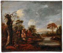 Flusslandschaft mit Bauernhaus